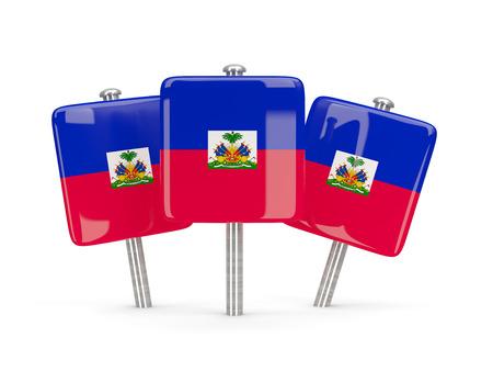 haiti: Flag of haiti, three square pins. 3D illustration Stock Photo