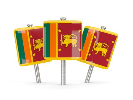 sri: Flag of sri lanka, three square pins. 3D illustration