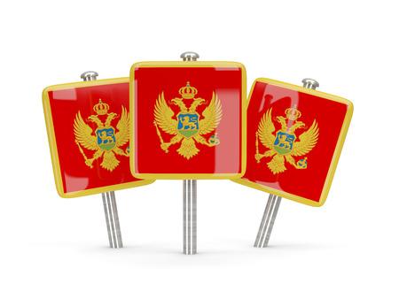 montenegro: Flag of montenegro, three square pins. 3D illustration