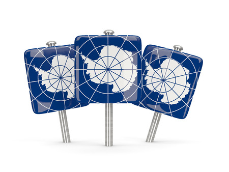 antarctica: Flag of antarctica, three square pins. 3D illustration