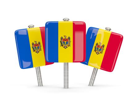 moldova: Flag of moldova, three square pins. 3D illustration