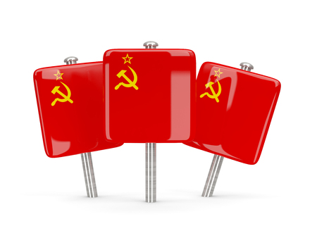 ussr: Flag of ussr, three square pins. 3D illustration