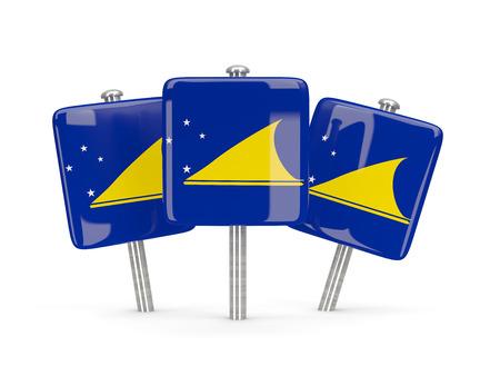 tokelau: Flag of tokelau, three square pins. 3D illustration Stock Photo