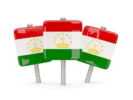 tajikistan: Flag of tajikistan, three square pins. 3D illustration