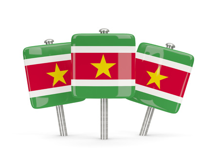 suriname: Flag of suriname, three square pins. 3D illustration