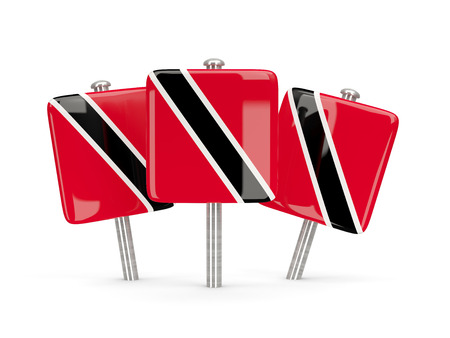 trinidad and tobago: Flag of trinidad and tobago, three square pins. 3D illustration