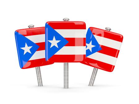 bandera de puerto rico: Bandera de Puerto Rico, tres pines cuadrados. ilustración 3D