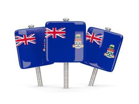 cayman islands: Flag of cayman islands, three square pins. 3D illustration Stock Photo