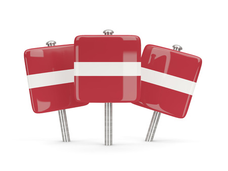 latvia: Flag of latvia, three square pins. 3D illustration