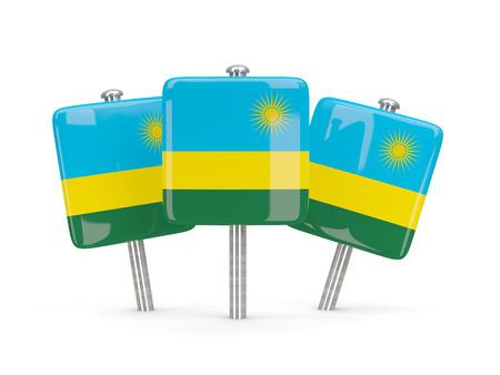 rwanda: Flag of rwanda, three square pins. 3D illustration