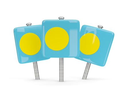 palau: Flag of palau, three square pins. 3D illustration Stock Photo