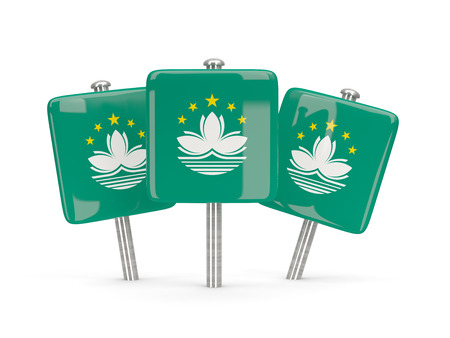 macao: Flag of macao, three square pins. 3D illustration