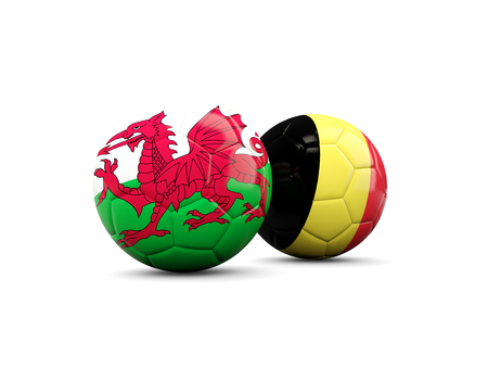 playoff: Wales and Belgium soccer balls isolated on white. 3D illustration