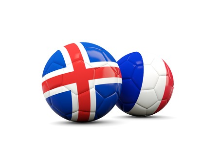 playoff: France and Iceland soccer balls isolated on white. 3D illustration Stock Photo