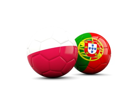 playoff: Portugal and Poland soccer balls isolated on white. 3D illustration Stock Photo
