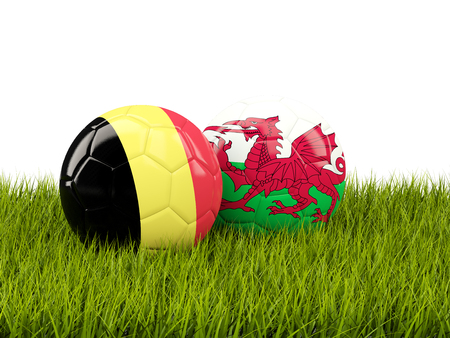 playoff: Wales and Belgium soccer  balls on grass. 3D illustration