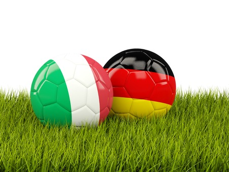 playoff: Italy and Germany soccer  balls on grass. 3D illustration
