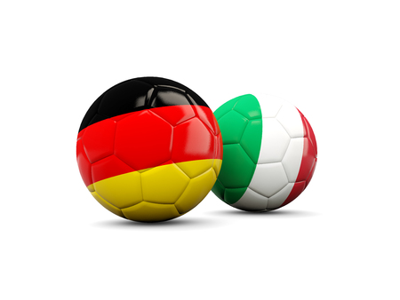 playoff: Germany and Italy soccer balls isolated on white. 3D illustration