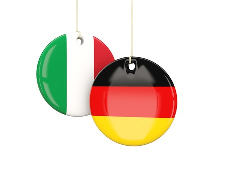 playoff: Germany and Italy soccer teams round labes. 3D illustration