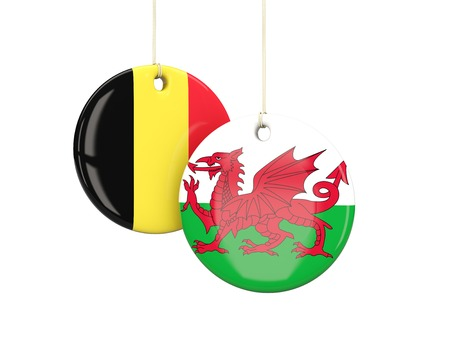 wales: Wales and Belgium soccer teams round labes. 3D illustration