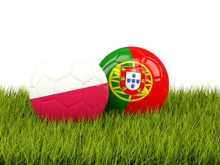 playoff: Portugal and Poland soccer  balls on grass. 3D illustration Stock Photo