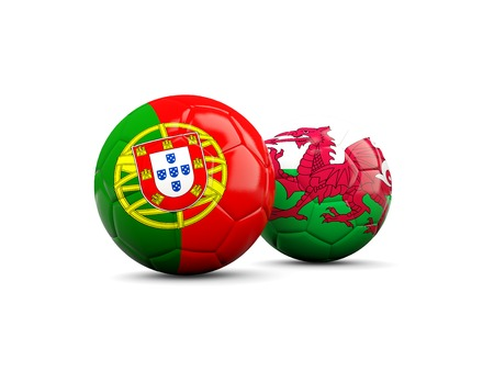 wales: Wales and Portugal soccer balls isolated on white. 3D illustration