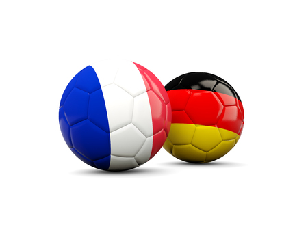 playoff: France and Germany soccer balls isolated on white. 3D illustration