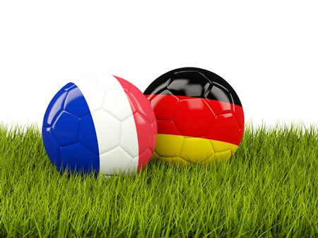 playoff: France and Germany soccer  balls on grass. 3D illustration Stock Photo
