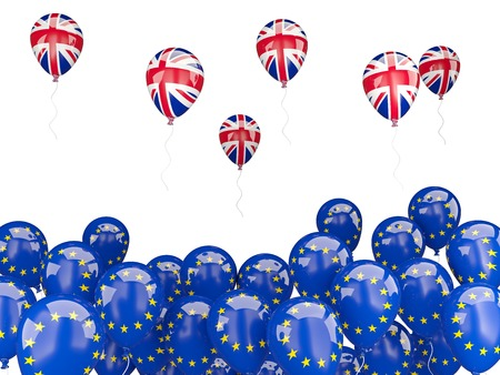 england politics: Flags of European Union and United Kingdom. Brexit concept 3D illustration Stock Photo