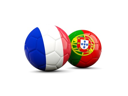 playoff: France and Portugal soccer balls isolated on white. 3D illustration
