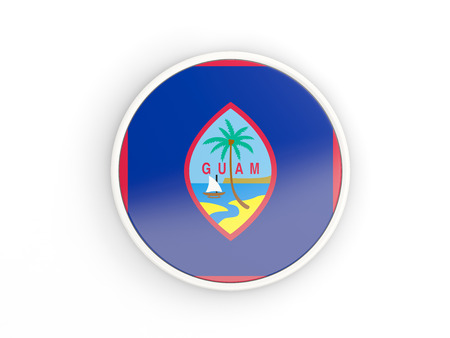 guam: Flag of guam. Round icon with white frame.3D illustration