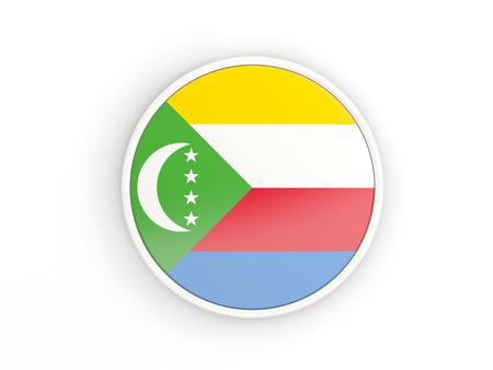 comoros: Flag of comoros. Round icon with white frame.3D illustration