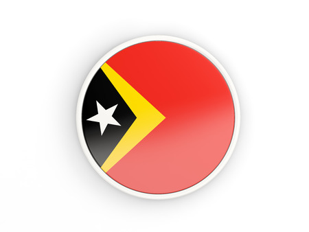 east: Flag of east timor. Round icon with white frame.3D illustration