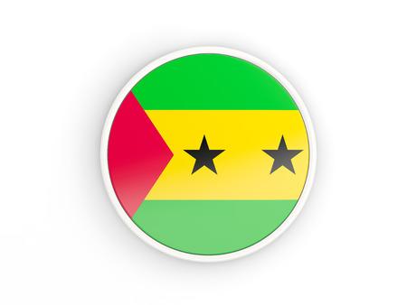principe: Bandera de Santo Tomé y Príncipe. Icono de ronda con blanco Ilustración frame.3D