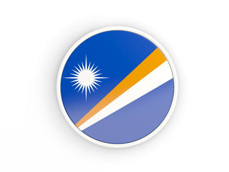 marshall: Flag of marshall islands. Round icon with white frame.3D illustration Stock Photo