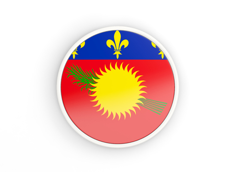 guadeloupe: Flag of guadeloupe. Round icon with white frame.3D illustration