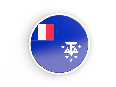 territories: Flag of french southern territories. Round icon with white frame.3D illustration