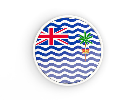 indian ocean: Flag of british indian ocean territory. Round icon with white frame.3D illustration