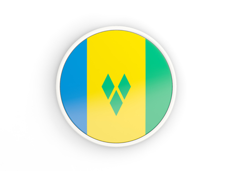 grenadines: Flag of saint vincent and the grenadines. Round icon with white frame.3D illustration Stock Photo