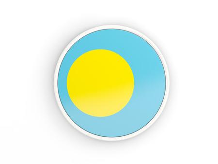 palau: Flag of palau. Round icon with white frame.3D illustration Stock Photo