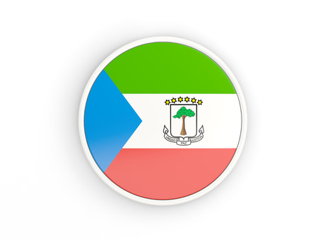 equatorial guinea: Flag of equatorial guinea. Round icon with white frame.3D illustration