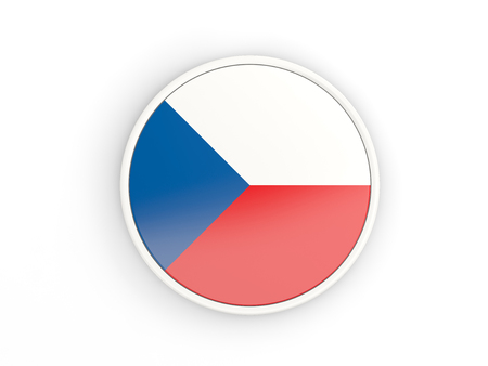 the czech republic: Flag of czech republic. Round icon with white frame.3D illustration Stock Photo