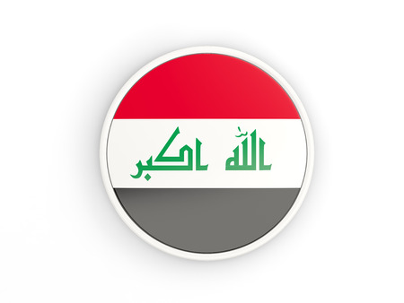 Flag Of Iraq. Round Icon With White Frame.3D Illustration Stock ...