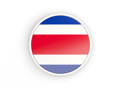 costa rica: Flag of costa rica. Round icon with white frame.3D illustration