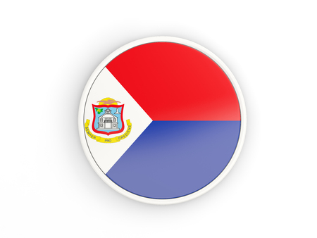 sint: Flag of sint maarten. Round icon with white frame.3D illustration
