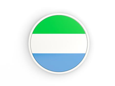 sierra leone: Flag of sierra leone. Round icon with white frame.3D illustration