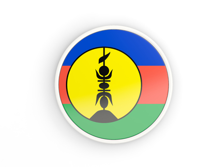 new caledonia: Flag of new caledonia. Round icon with white frame.3D illustration