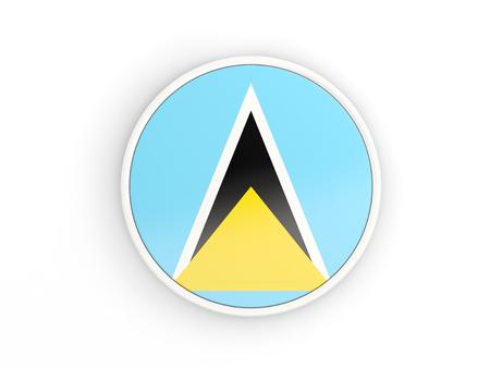 lucia: Flag of saint lucia. Round icon with white frame.3D illustration