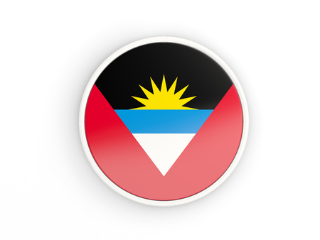 barbuda: Flag of antigua and barbuda. Round icon with white frame.3D illustration
