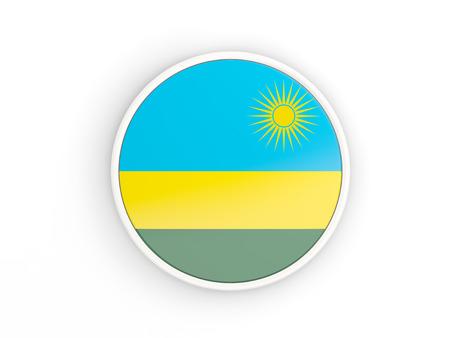 rwanda: Flag of rwanda. Round icon with white frame.3D illustration
